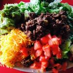 Taco salad without the tortilla bowl to save carbs!