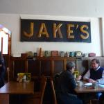 Interior of Jakes with wood type signage
