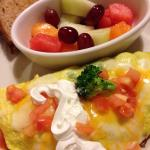 Veggie omelette with fruit and whole wheat toast.  (9/2015, $8.95)