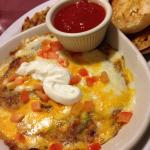 Acapulco Express omelette -  Chorizo, avocado, green chilies and onions, cheeses, sour cream, ch