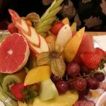 Breakfast with lots of fresh fruit!