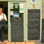 Happy customer and blackboards