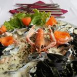 black noodles with scampi and truffles