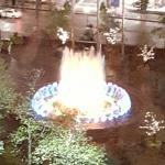Our view from the DoubleTree. Beautiful fountain lit up at night.