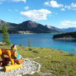 enjoying the hiking trails and Abraham Lake