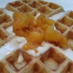 The waffle today was a peach waffle topped with a spiced whipped cream and sautéed gingered peac