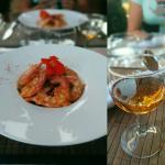 Gambas à plancha sur wok de légumes et vermicelles de riz accompagné d'un excellent cognac
