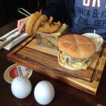 Small lunch time fish and chips!yummy and big enough. Great juicy burgers large portion with oni