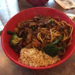 Mixed bowl with rice and noodles