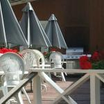 Deck, tables, and umbrellas