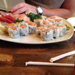 Tempura lobster roll. Spicy tuna sushi rolls and sashimi deluxe.
