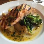 Wild salmon with broccolini and fingerling potatoes