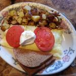 California Omelette, Home fries and toast.