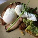 Corn Cakes with poached egg, avocado and bacon