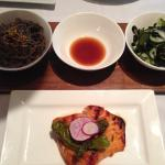 Hibachi Grilled Atlantic Salmon w/ (R to L) Japanese Cucumber & Wakame Salad, Citrus Ponzu & Sob
