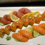 Mambo Mango Roll with Tuna and Salmon Nigiri/Sushi