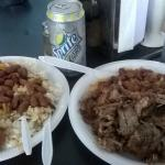 Lunch (Chicken with white rice and beans and pork chop with yellow rice and beans)