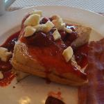 Strawberry Banana stuffed French toast with bacon!