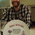 Lovely evening at Lal Bagh to celebrate Justins 24th Birthday. The plate was a gift from the sta