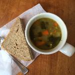Curried Lentil Soup with Bread Slice - Yummy!