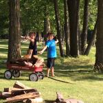 Boys gathering the wood for our fire.