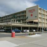 Hotel from pedestrian strand along beach