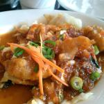 Grouper cheeks in a sweet chili sauce.   Omg try this!