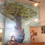 Giant mural inside.