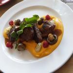 Kudu Medallions Cranberry marinated served on Butternut cream cheese puree, with gnocchi, mushro