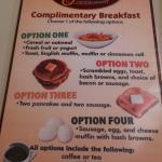 Complimentary Breakfast Menu