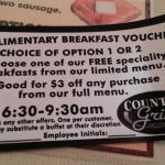 Each registered guest gets a coupon for breakfast next door