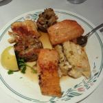 fish and stuffed mushroom with crabmeat