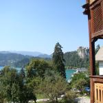 Bled Lake with the Castle tucked behind next door's balcony