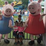 The girls with Peppa and George