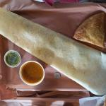 My dinner with a very large wrap, a samosa and chutney