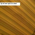 Wet, dirty stain on chair-