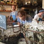 Shucking those oysters!