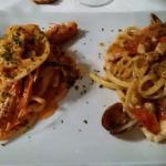 San Leone, Agrigento - Pasta all'ammiraglia e pasta in scampi alla vodka e panna.