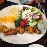 salmon kabob (half salad, half rice platter)
