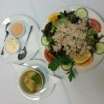 Fresh Guernsey crab salad and Jersey Royal potatoes.