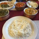 Basmati Rice, Lamb Rogan Josh, Chicken Tikka Masala, and Naan Bread. GET YOU SOME OF THAT!!!