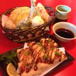 Vegetable tempura and deep-fried tofu