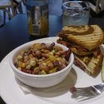 Street View, Inside entrance, Pastrami sandwich & Bean Salad