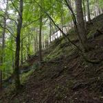 尾根近くの斜面に設置された遺族用の休憩所。簡易便所がある。
