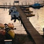 The main dock off the marina. You can rent the hydrobikes, kayaks, boats, and paddleboards