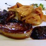warm foie gras with apples and balsamic prunes!!!