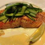 Succulent Salmon Topped with Sliced Asparagus