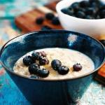 new fresh blueberry topping with our porridge on our breakfast menu