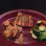 "Grilled Salmon with veggies and ""fried  potatoes and onions"".   One of the few things on menu th"