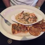 """Atlantic Ocean Platter"" grilled salmon and shrimp scampi pasta."